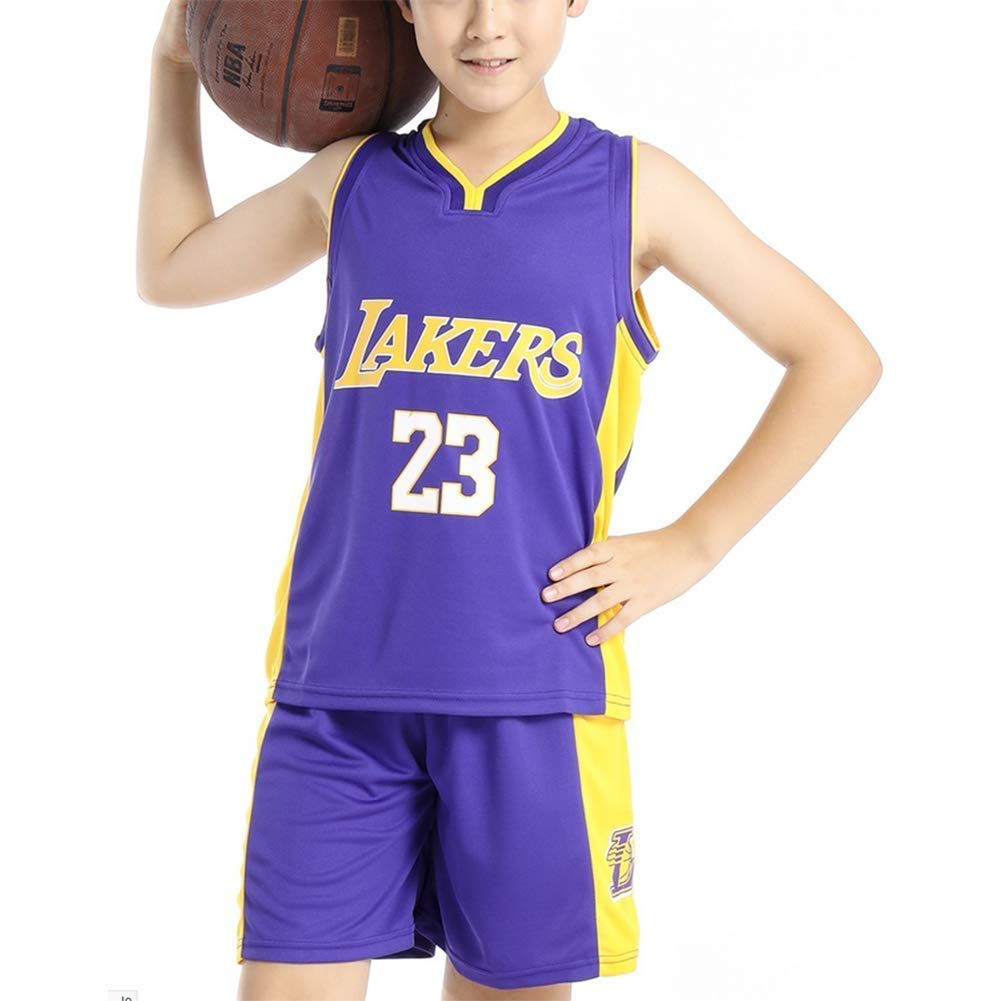 Hanbao Kids Basketball Uniform Set- Summer Basketball Jersey NBA Lakers #23 James Fan Edition-Classic Basketball Swingman Jersey Sleeveless Top&Shorts