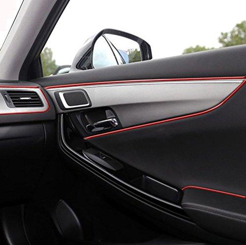 EJ's SUPER CAR Car Interior Moulding Trim, 16FT(5M) Color Film Car Interior Exterior Decoration Moulding Trim Rubber Seal Protector Fit for Most Car(Red)