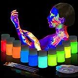BEAU-PRO UV-Licht Bodypainting 10 x 20ml, Schwarzlicht Schminke für Bodypainting und Gesicht,...