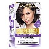 L'Oréal Paris Permanente Haarfarbe mit ultra kühlem Farbergebnis, 100% Grauhaarabdeckung, Set mit Coloration, Shampoo und Pflegecreme,Excellence Cool Creme, Nr. 5.11 Ultra kühles Hellbraun (Braun)
