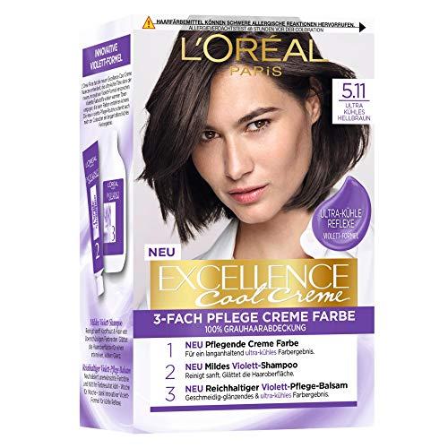 L\'Oréal Paris Permanente Haarfarbe mit ultra kühlem Farbergebnis, 100{5324e62c436ad3266a74ac3f5ac122c6efa0b692cf3a1604156e5b4319ba5782} Grauhaarabdeckung, Set mit Coloration, Shampoo und Pflegecreme,Excellence Cool Creme, Nr. 5.11 Ultra kühles Hellbraun (Braun)