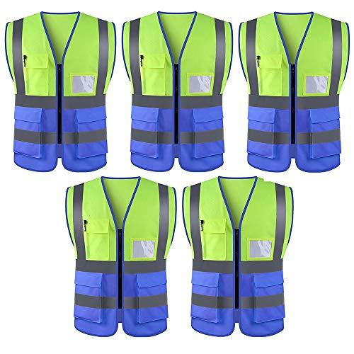 WUIO Chaleco De Alta Visibilidad, Chaleco Reflectante, Para Construcción, Administración De Carreteras, Advertencia De Seguridad, Ciclismo Y Caminata, Etc. (Amarillo + Azul - Paquete De 5)