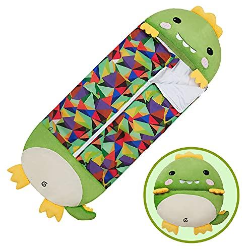 "XMWEALTHY Sleeping Bag for Kids Girls Warm Sleeping Bag with Pillow Dinosaurs Stuffed Animal Cartoon Boys Children's Gifts Soft All-Season Medium Size 54""X 20"""