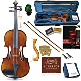 Forzati FZV600 1/8 Eighth Size Violin Set, Superior Handcrafted Violins, Kids Violin, Hand-Varnished, 2 Bows, String Set, Ebony, Case, Shoulder Rest, for Beginners, Intermediate to Advanced Players