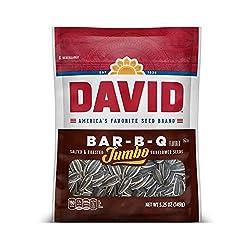 DAVID Roasted and Salted Bar-B-Q Jumbo Sunflower Seeds, Keto Friendly, 5.25 Oz