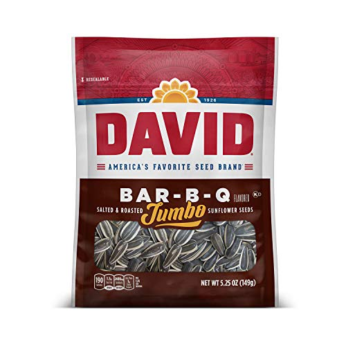 DAVID SEEDS Roasted and Salted Bar-B-Q Jumbo Sunflower Seeds, 5.25 oz, 12 Pack