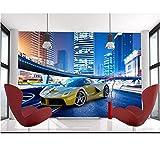 3D papier peint de chambre Custom peintures murales autocollant non tissé Voiture de sport de luxe 3D image canapé TV fond d'écran mural pour les murs 3D