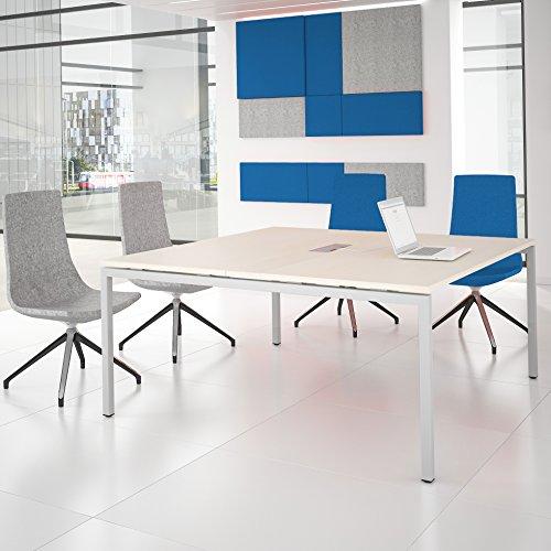 NOVA Konferenztisch 160x164cm Ahorn mit ELEKTRIFIZIERUNG Besprechungstisch Tisch, Gestellfarbe:Weiß
