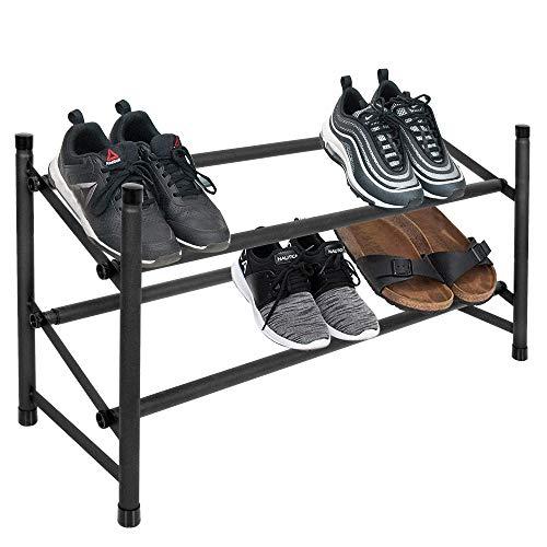 SPRINGOS Schuhregal mit 2 Etagen, ausziehbar, Schuhaufbewahrung, Schuh-Ordner, stapelbar, auch für den begehbaren Kleiderschrank, Ausmaß: 62-115 x 35,5 x 22 cm (Schwarz)