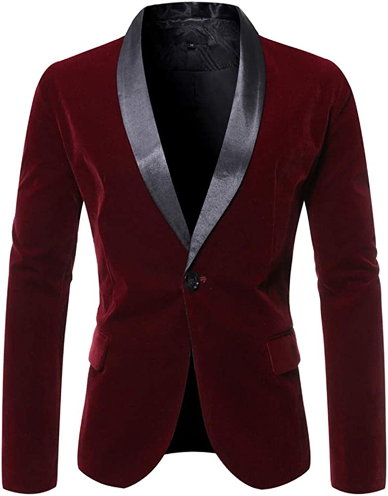 chouyatou Men's Satin Shawl Collar One Button Dress Suit Blazer Jacket Sport Coat