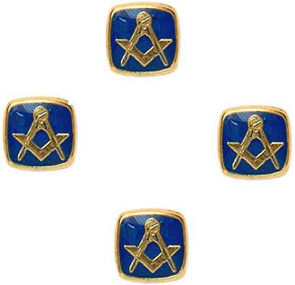 David Van Hagen Mens Masonic Set of 4 Shirt Studs - Blue/Gold