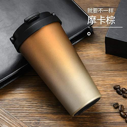 LANKOULI Mode Thermoskanne Kaffeetasse Fahrzeug Tasse tragbare Edelstahl Vakuum Thermosflasche Vakuumflaschen Thermoskanne Black Tea Cup-500 ml_Tasse Wird golden