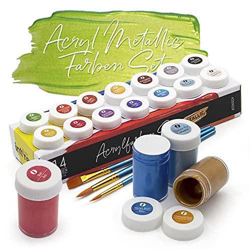 int!rend Zestaw farb akrylowych, 14 wodoodpornych farb malarskich po 18 ml + 2 okrągłe pędzelki + 1 płaski pędzelek, akrylowa farba do papieru, drewna, gliny, kamienia - farby akrylowe do malowania i majsterkowania