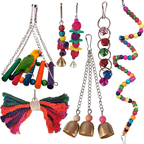 ZMS 7 Pieces Bird Swing Toys Parrot Cage Toys Bell Colorful Natural Wood Hammock Hanging Perch Small Medium Birds Parakeets Cockatiels Conures Macaws Parrots Love Birds Finches (7 Pieces)
