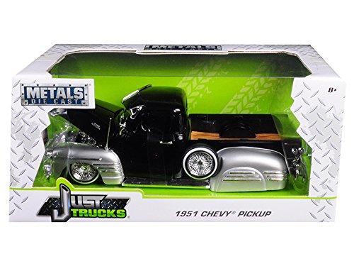1951 Chevrolet Pickup Truck Lowrider Black/Silver 1/24 Diecast Car Model by Jada 99035