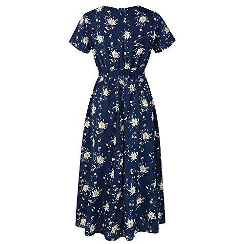 Julhold Vestido para mujer con cuello en V y estampado floral, diseño de cintura, vestido de fiesta de playa
