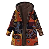 iHENGH Damen Herbst Winter Bequem Mantel Lässig Mode Jacke Frauen Plus Size Frauen Mit Kapuze Langarm Baumwolle Leinen Flauschigen Pelz Reißverschluss Mantel Outwear(Gelb, 5XL)