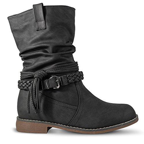 Damen Stiefel Stiefeletten gefüttert Boots Biker Schlupfstiefel ST871 (39, Grau)