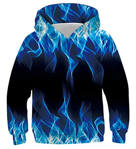 AIDEAONE Jungen Mädchen Cool Rauch Blau 3D Hoodie Pullover Hooded Sweatshirt 125-145cm