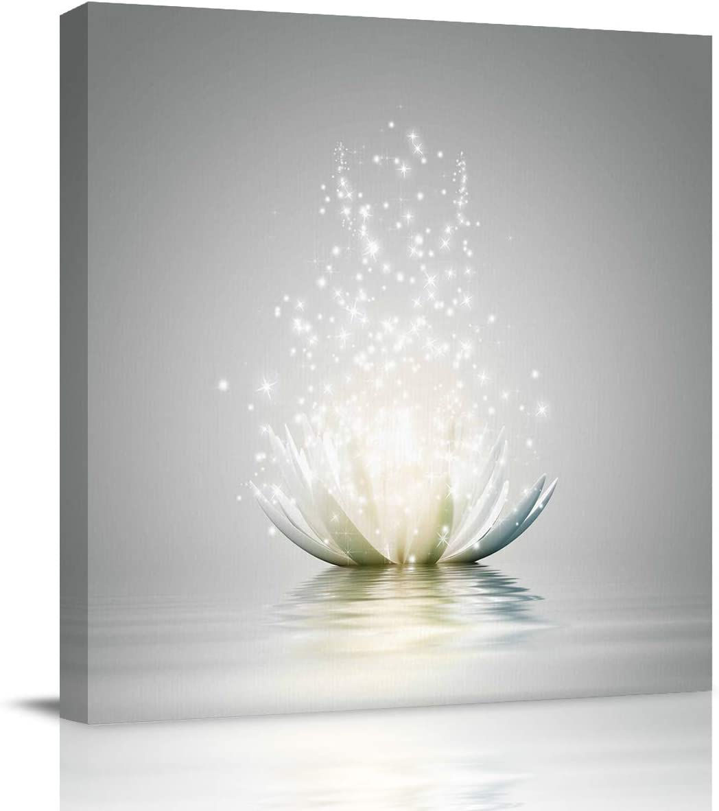 Abstract Wall Art on Canvas for Bedroom Living Room Bathrooms Kitchen,Art Lotus Flower Pattern White Artworks Office Home Decor,Stretched by Wooden Frame,Ready to Hang,12x12in