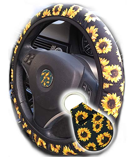 Toppers Handmade Sunflower Steering Wheel Cover for Women, Anti Slip. These Trendy Cute Car Covers Keep Your Wheel Cool So You Dont Lose Yours. with Cute Matching Keychain Accessories.