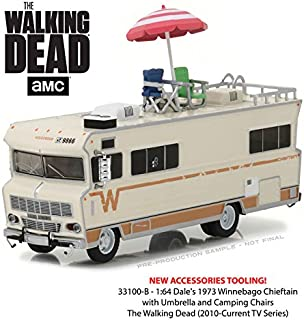 New 1:64 GREENLIGHT COLLECTION - H-D TRUCKS SERIES 10 - The Walking Dead - Beige 1973 Winnebago Chieftain with Accessories Diecast Model Car By Greenlight