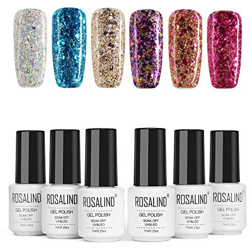 ROSALIND Paillettes de Diamant Vernis Semi Permanent Super Brillant Bleu Lagon Rouge Violet 7ml