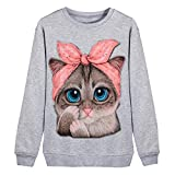 TUDUZ Sudadera Mujer Manga Larga Camisa Impresión del Gato Top Blusa Otoño e Invierno (GrisA, M)