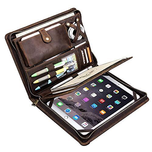 Portafolio de cuero, Carpeta de documentos con cremallera para negocios para Bloc de notas de tamaño carta, Estuche para portafolios de tableta, Cuero de vaca Crazy Horse (iPad Pro 10.5 / 11 p