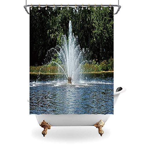 ALUONI Beautiful Fan Shaped Water Fountain Shower Curtain Waterproof Polyester Fabric Shower Curtain with Hooks,119364 Bathroom Decor Set with Hooks,65 in x 71 in