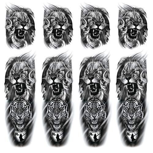 Leoars Tiger Lion Sleeve Tattoos, 4-Sheet Large Tiger Full Sleeve Tattoos and 4-Sheet Fake Lion Half Arm Sleeve Tattoos Sticker Makeup Props for Men Women Kids
