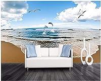 3D壁紙写真海辺の風景ビーチリビングルーム寝室テレビ背景壁家の装飾壁-250x175cm