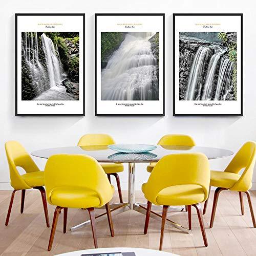 IGZAKER Moderne Minimalistische Mooie Waterval Landschap Canvas Schilderij Print Foto Poster Muurschildering Mooie Home Decoratio-50x70cmx3pcs geen frame