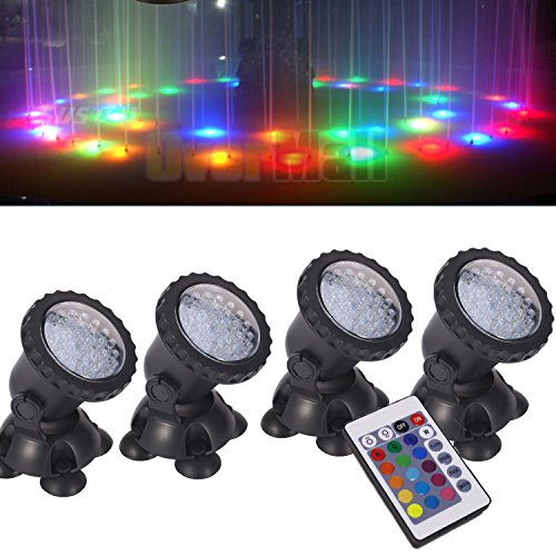Remote Control Submersible Lamp Pond Lights [Set of 4] IP68 Underwater Aquarium Spotlight 36LED Color Changing Landscape Decorative Light For Fountain Fish Tank Swimming Pool Garden Grass Path Land