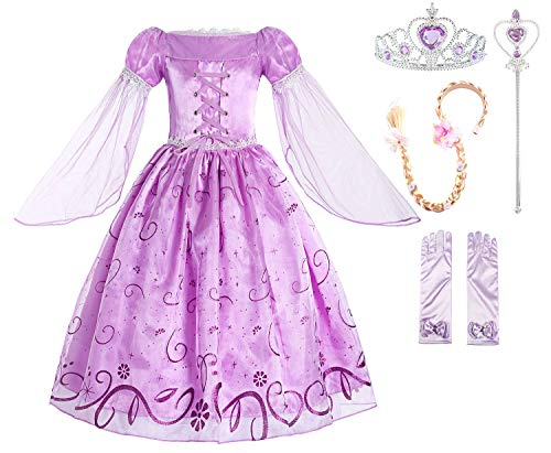 ReliBeauty Little Girls Costume Mesh Sleeve Princess Fancy Dress with Accessories, 8/150, Lavender