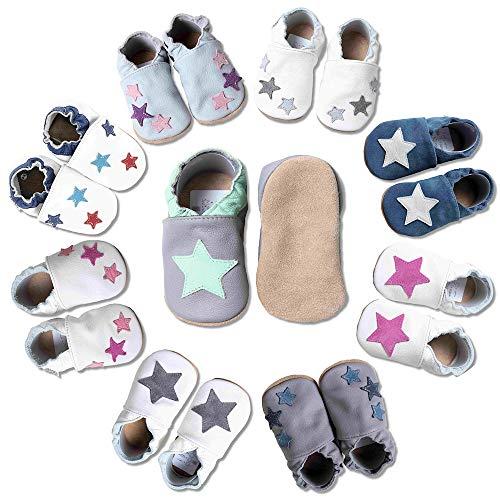 HOBEA-Germany Baby Krabbelschuhe, Lederschuhe, dunkelgrau mit Mint Stern, Schuhgröße:16/17 (0-6 Monate)