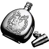 HnF Juego de Regalo de Botella de Whisky Fina de 17 oz, Botella de Cadera Pesada Acero Inoxidable 304, Que Incluye 2 Tazas y Embudo de Acero Inoxidable