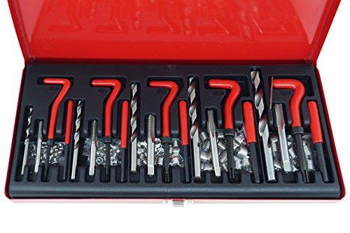 Kit riparazione ripristino filetti/filettature/elicoidi maschi 131 pz c/valigetta metallo