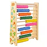 Sealive Classic Wooden Abacus for Kids Math, Educational Counting Toy with 100 Beads, 123 Learning Number Abacus for Toddler, Mathematics Toy Beads Game for Preschool Children Kindergarten