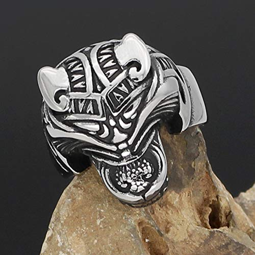 YABEME Men Viking Ring, Norse Celtic Pagan Stainless Steel Totem Signet Animal Wolf Head Amulet Finger Jewelry, with Valknut Rune Gift Bag,9