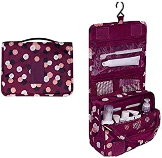 حقيبة مبطنة لترتيب مستحضرات التجميل والماكياج بسعة كبيرة، لون ارجواني، موديل HZ01