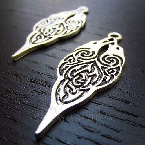 2 Pc Celtic Birds Charms Antiqued Silver Plated Pendant Bracelet Jewelry - Charm Crazy