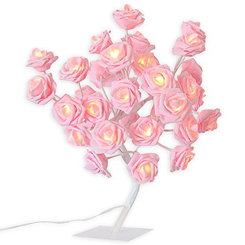 Best Price GOTDCO. 24 LED Pink Rose Tree Light,Pretty Romantic Valentines Day Folding Lamp,USB Batte...
