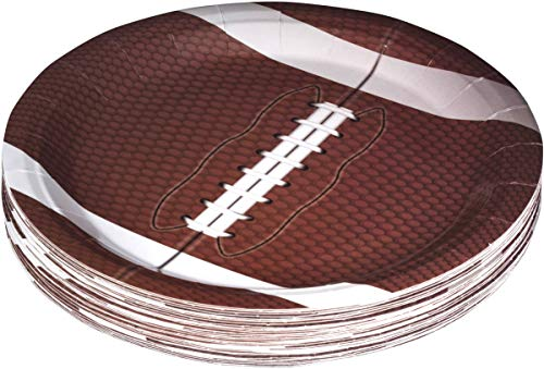 Hammont Football Themed 9' Disposable Round Paper Plates –Superbowl Party Supplies Ideal for Tailgate Parties,Family Dinner and Sports Event (50 Pack)