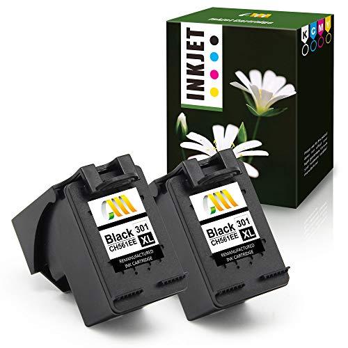CMCMCM 2 Nero - Cartucce d'inchiostro rigenerate di ricambio per HP 301 XL 301XL per stampanti Envy 4500 5530 4502 Deskjet 2540 1000 3050 3050a 1050 1050a 1510 Officejet 4630 2620 (NO OEMS)