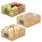 mDesign Juego de 3 cestas organizadoras para armario o estante – Canasta...