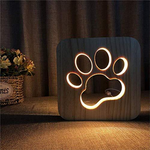 Preisvergleich Produktbild USB -Stromversorgung aus Holz Schreibtischlampe Dekoration Startseite Schlafzimmer Arbeitszimmer Beleuchtung - warmes Licht geführte Nachtlicht Pfötchen Wolf - Kopf - Muster Welpen Hund Pfote