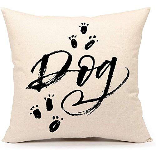 Mesllings Kissenbezug mit Hunde-Schriftzug, dekoratives Sofa, Couch, 50 x 50 cm