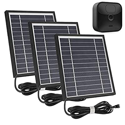 iTODOS 3 Pack Solar Panel Works for Blink Outdoor Camera, 11.8Ft Outdoor Power Charging Cable and Adjustable Mount,Weatherproof, Power Your Blink Camera continuously - Black