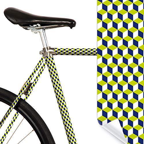 MOOXIBIKE l Gruene Wuerfel Mini Fahrradfolie mit Muster für Rennrad, MTB, Trekkingrad, Fixie, Hollandrad, Citybike, Scooter, Rollator für circa 13 cm Rahmenumfang